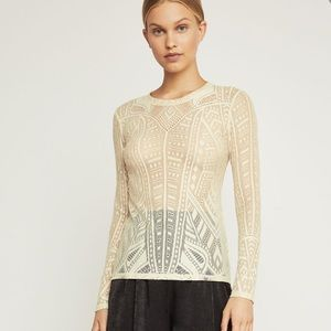 BCBGMAXAZRIA Agda Long Sleeve Lace Top